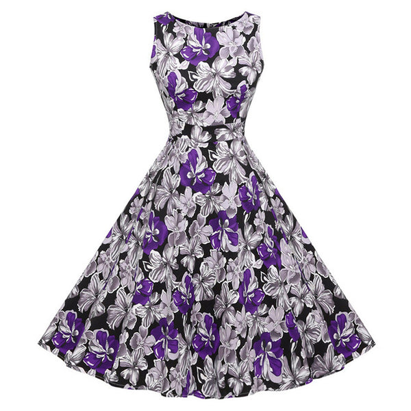 Floral Print Summer Dress Women - Sleeveless Tunic 50s Vintage Dress Belt Elegant Rockabilly Party Dresses Sundress