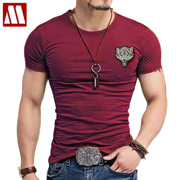 Men's Wolf embroidery Tshirt Cotton Short Sleeve T Shirt Spring Summer Casual Men's O neck Slim T-Shirts Size S-5XL