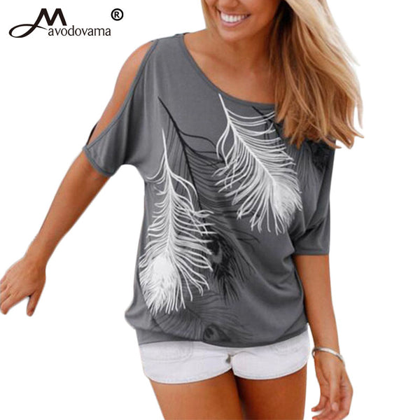 Sexy Women Feather Short Sleeve Off Shoulder Round Neck Loose Blouse Feminino Shirt Summer Casual Tops