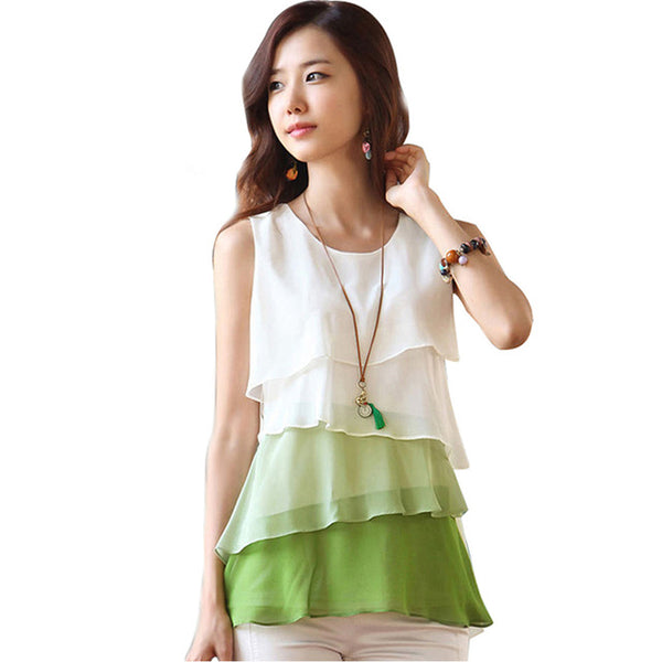 New Fashion Women Casual Blouses Sleeveless Neck Flounce Tiered Chiffon Shirt Blusas Femininas Plus Size