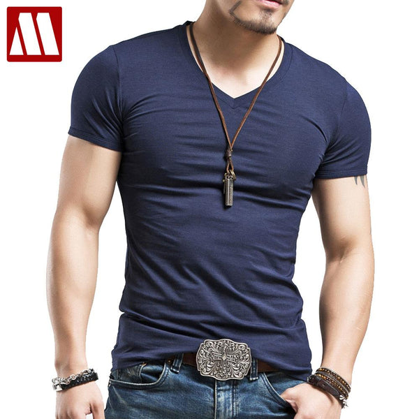 summer new cotton v neck short sleeve t shirt men fashion trends fitness tshirt free shipping LT39 size 5XL