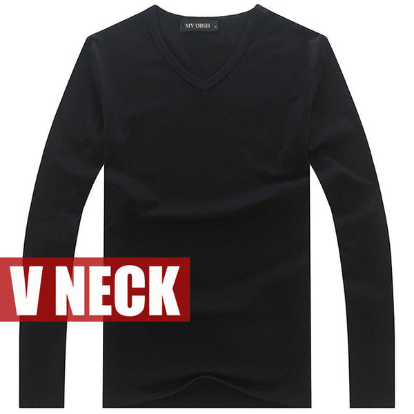 Hot Sale New spring high-elastic cotton t-shirts men's long sleeve v neck tight t shirt