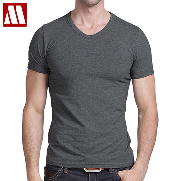 Hot Sale Cotton T shirt men's casual short sleeve V-neck T-shirts black/gray/green/white S-5XL MTS181