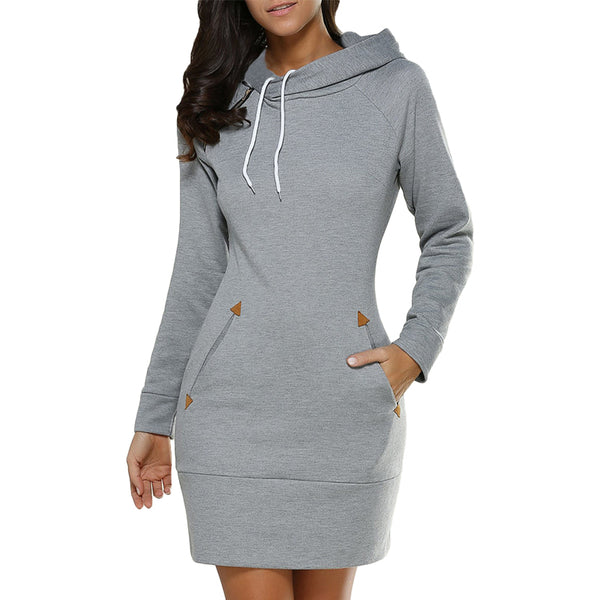 Winter Warm Women Casual Straight Solid Dress Ladies Long Sleeve Hooded Pockets Mini Party Dresses SportsWear Clothings