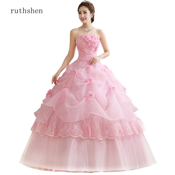 ruthshen Ball Gown Sweet Pink Vestidos De 15 Flowers Cheap Quinceanera Gowns Sweet 16 Debutante Dresses Robe De Bal