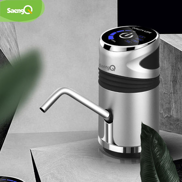 saengQ Automatic Electric Water Pump USB Charging Button Dispenser Gallon Bottle Drinking Switch For Water Pumping Device