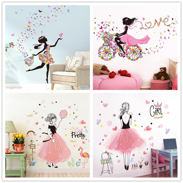 [shijuekongjian] Fairy Girl Wall Stickers Vinyl DIY Butterflies Flowers Mural Decals for House Kids Room Baby Bedroom Decoration