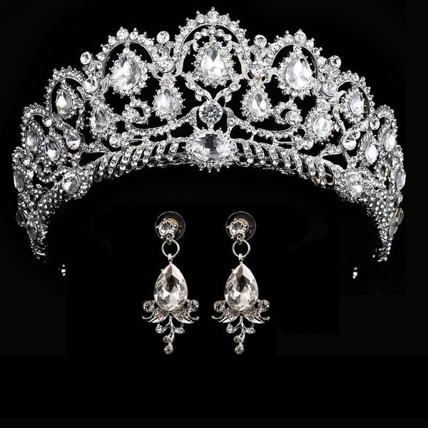 wedding crown queen bridal tiara bridal crown with earring luxury rhinestone headband diadem bride hair jewelry ornaments