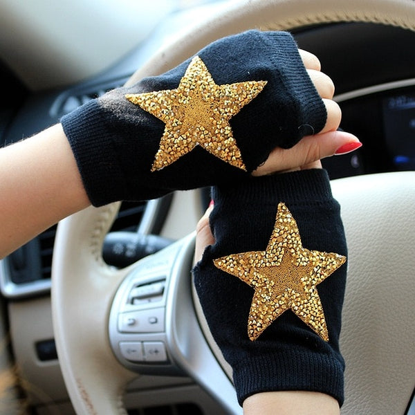 winter Gloves Rhinestone skull embroid  crown half finger gloves women Warm Knitted cheap mittens students type gants femme