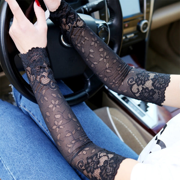 women Lace Arm Sleeve Breathable Bracers Anti-UV Lace Pattern Woman Arm Sleeve Clothing Accessories Summer Anti-sun  Arm sleeve