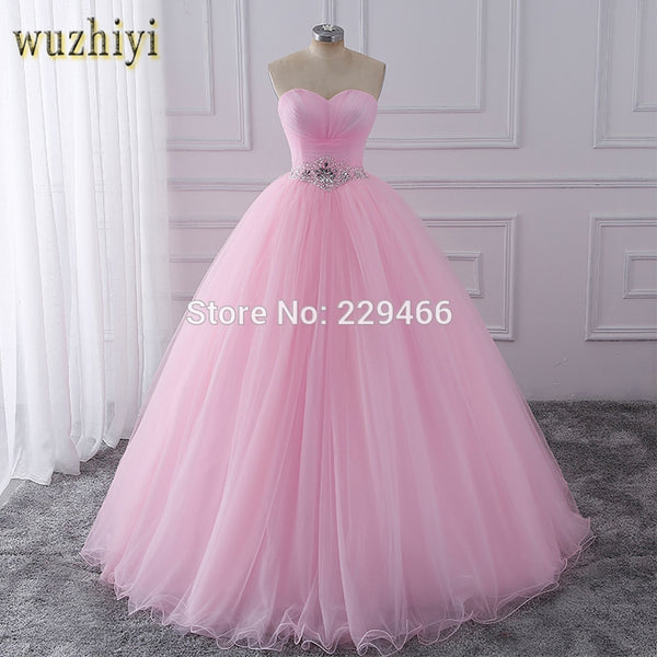 wuzhiyi Quinceanera Dresses Pink Ball Gown vestidos de festa longo 15 anos Sweet 16 Dress Debutante Gowns Dress For Growth