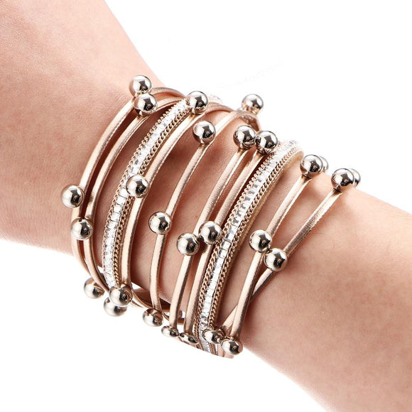 3 Color Fashion Multiple Layers Charm Bracelet