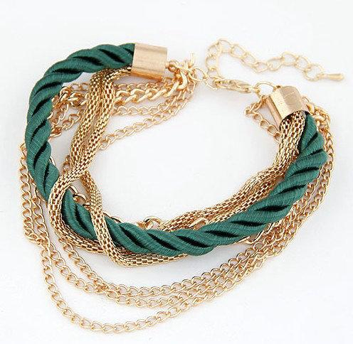 Green Gold Chain Heart Bracelets