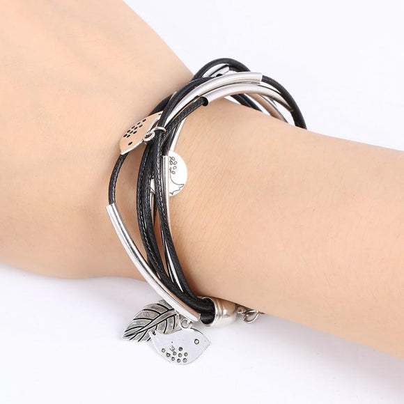 Silver Charm Leaves Tibetant Silver Multilayer Bracelets