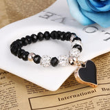 Heart Pendant Bracelets with bling crystal Beads