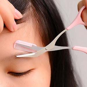 Pink Eyebrow Trimmer Scissors With Comb