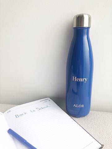 ALOR Personalised blue 500ml water bottle