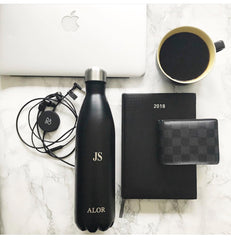 ALOR black personalised plastic free mens water bottle