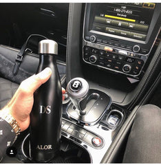 Black luxury stainless steel personalised water bottle ALOR