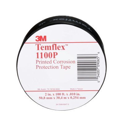 Protection Tapes 3M 1100-PRINTED-2X100 Temflex General Use Corrosion Protection Tape 1100 Printed Black 2 x 100' (51 mm x 30.5 m)