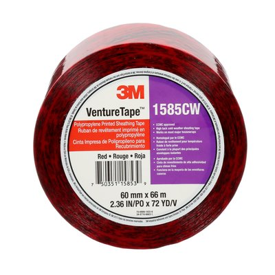 Sheathing Tapes 3M 1585CW-P2-S444 Venture Tape Polypropylene Printed Sheathing Tape 1585CW Red 60mm x 66m