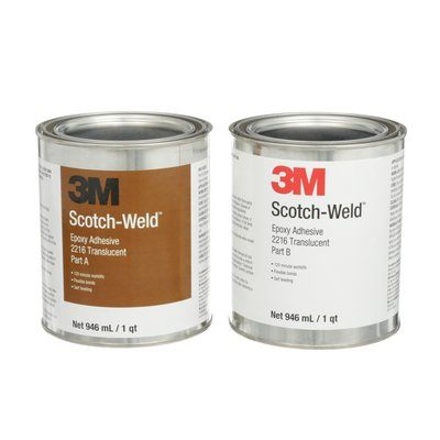 Epoxy 2 Part 3M 2216-1QT-KIT-CLR Scotch-Weld Epoxy Adhesive 2216 Part B/A Translucent 1 Qt (0.95 L) Kit