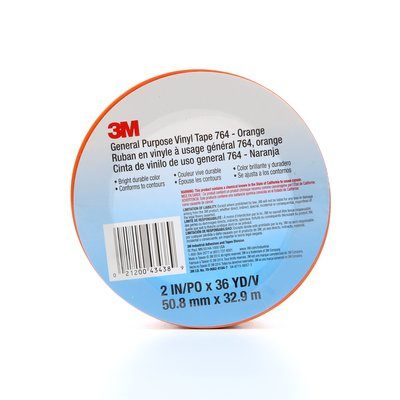 Vinyl Tapes 3M 764-2X36-ORG General Purpose Vinyl Tape 764 Orange 2 Inch x 36yds 5.0 mil