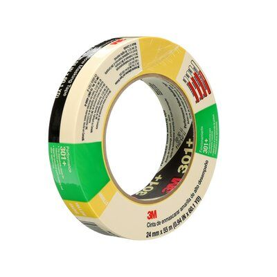 Performance Yellow Masking Tapes 3M 301+-24X55 Performance Yellow Masking Tape 301+ 24mm x 55m (6.3 mil Thickness) - Individually Wrapped
