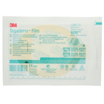 1630 Tegaderm Transparent Film Dressing 1630 Frame style oval 10 cm x 11.5 cm (4 in x 4-1/2 in) 3M 7000002872