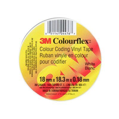 Electrical Tapes 3M COLOURFLEX-WHT Colourflex Tape White 7mil 3/4 Inch x 6'