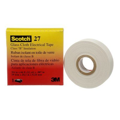 Electrical Tapes 3M 27-3/4X66-1IN Scotch 27 Glass Cloth Electrical Tape White 3/4 Inch x 6' Rubber Thermosettg Adhesive 1 Inch Core