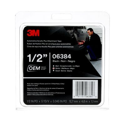 06384-1/2X5(IMP) Automotive Acrylic Plus Attachment Tape 06384 Black 1/2 in x 5 Yards 45 mil 12 Per Case,,3M,Attachment Tapes,tapan-bond-com.myshopify.com,STUK.Solutions