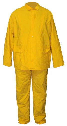 R411Y50 3 Piece Fr Rainsuit Bib Pant Jacket & Hood Yellow Xl