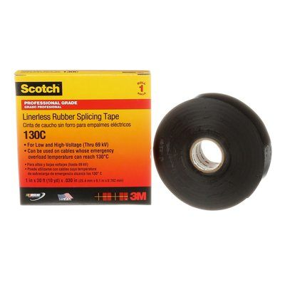 130C-1X30 Scotch Linerless Rubber Splicing Tape 130C Black 30 Mil (0.76 mm) 1 in x 30 Ft (25 mm x 9.1 m)