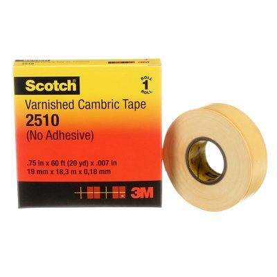 Electrical Tapes 3M 2510-VCT-3/4X60 Scotch Electrical Insulating Varnished Cambric Tape 2510 Yellow 7mil (0.18mm) 3/4 Inch x 6' (19 mm x 18.3 m)