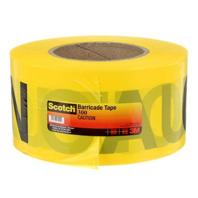 Safety Tapes 3M 300 Scotch Barricade Tape Yellow Caution 3mil (0.07 mm) 3 Inch x 1000' (76mm x 305 m)