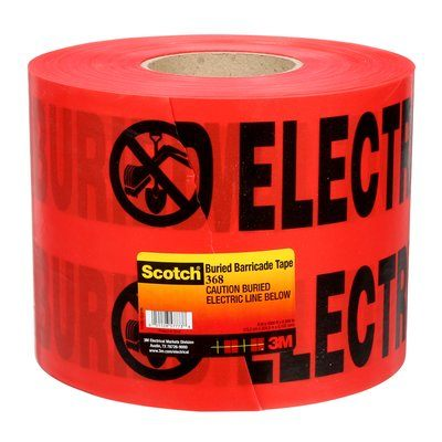 Safety Tapes 3M 368 Scotch 368 Buried Barricade Tape Caution Buried Electric Line Below Red 4mil 6 Inch x 1000'