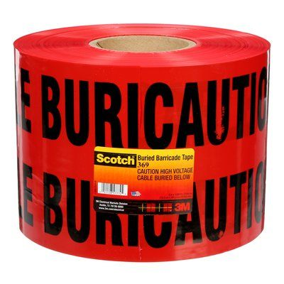 Safety Tapes 3M 369 Scotch 369 Buried Barricade Tape Caution High Voltage Cable Buried Below Red 4mil 6 Inch x 1000'
