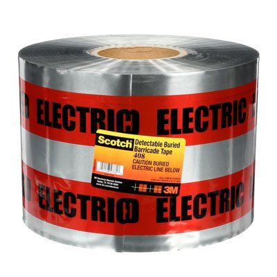 Safety Tapes 3M 408 Scotch 408 Detectable Buried Barricade Tape Caution Buried Electric Line Below Red 5mil 6 Inch x 1000'