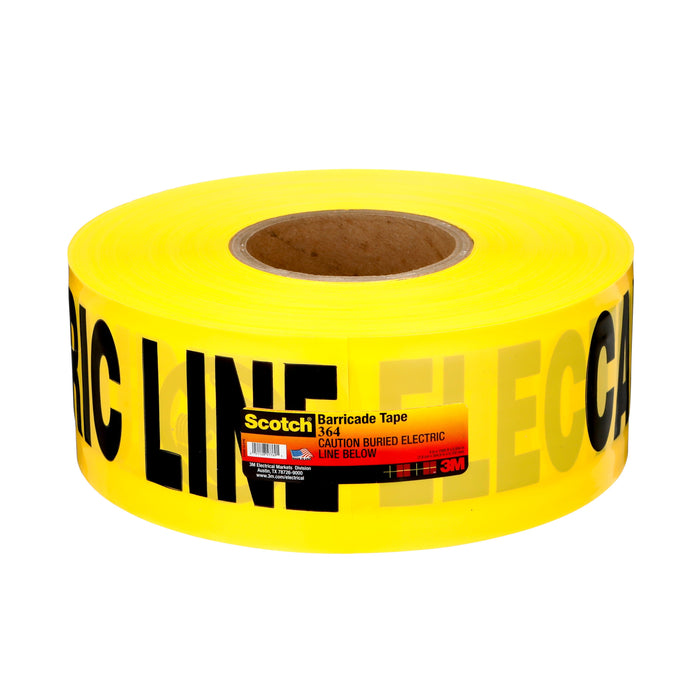 Safety Tapes 3M 364 Scotch Buried Barricade Tape 364 Yellow InchCaution Bured Electric Line Below Inch 4mil (0.1 mm) 3 Inch x 1000 (76mm x 305 m)