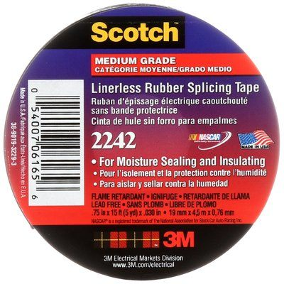 Splicing Tapes 3M 2242-3/4X15 Scotch Commercial Grade Linerless Rubber Splicing Tape 2242 3/4 Inch x 15' 30 mil