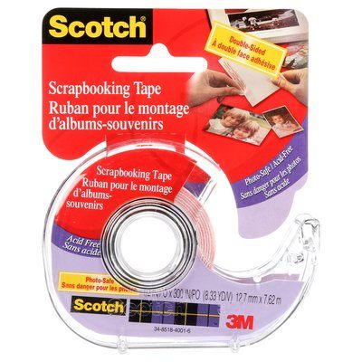002C Scotch Double Sided Scrapbooking Tape 0.5 in x 8.3 Yards (1.3 cm x 7.6 )
