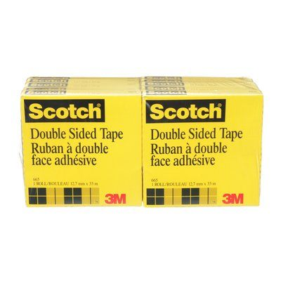 Double Sided Tapes 3M 665-12 Scotch Double Sided Tape 665 0.5 Inch x 36yds (1.2 cm x 33 m)