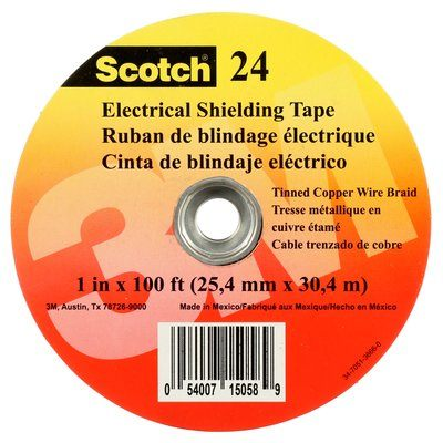 Electrical Tapes 3M 24-1X100 Scotch Electrical Shielding Tape 1 Inch x 100' (25.4mm x 30.5m)