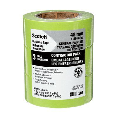 Masking Tapes 3M 2055PCW-48CP Scotch Masking Tape For Professional Painting 2055PCW-48CP Green Contractor Pack 48mm x 55m