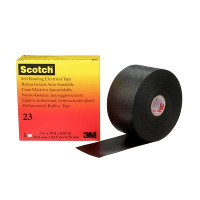 Scotch Rubber Splicing Tape 23 Black With Liner 30 mil x 2 in x 30 ft (0.76 mm x 50 mm x 9.1 m) 3M 7000138512
