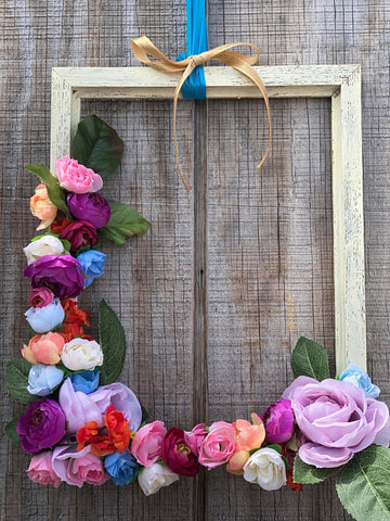 Wooden Frame + Faux Flower Wreath Kit