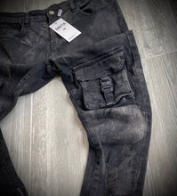 Load image into Gallery viewer, MBTA BLACK SKINNY CARGO POCKET WAXED DENIM JEANS