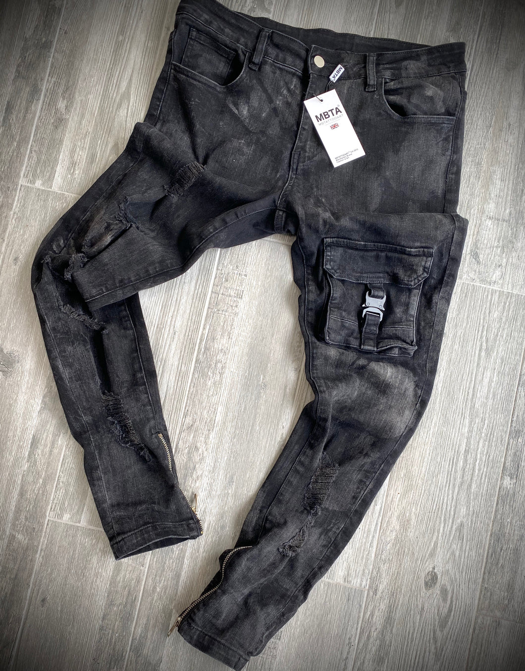 MBTA BLACK SKINNY CARGO POCKET WAXED DENIM JEANS