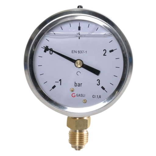 Manometer -1/+3 bar 63mm RVS OA 1/4